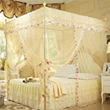 KAMIERFA Romance Full in House 4 Corner Post Bed Canopy Mosquito Net £¨with Frames£© L Beige