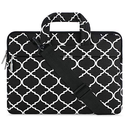 MOSISO Notebooktasche Kompatibel 15-15,6 Zoll MacBook Pro, Notebook Computer Quatrefoil Stil Laptop Schultertasche Sleeve Hülle Umhängetasche mit Griff und Schulterriemen, Schwarz