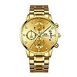OLMECA Relojes Hombre Moda de Lujo Reloj de Pulsera de Cuarzo Cronógrafo Impermeable con Cuero, Relojes de Acero Inoxidable para Hombres. (H-Oro)