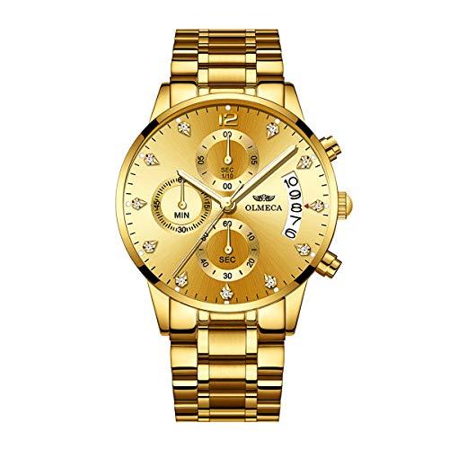 bf0bf80ed7a3 OLMECA Relojes Hombre Moda de Lujo Reloj de Pulsera de Cuarzo Cronógrafo  Impermeable con Cuero