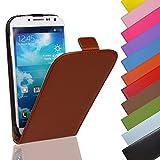 EximMobile - Flip Case Handytasche für Huawei Ascend G525 in Braun | Kunstledertasche Huawei Ascend G525 Handyhülle | Schutzhülle aus Kunstleder | Cover Tasche | Etui Hülle in Kunstleder