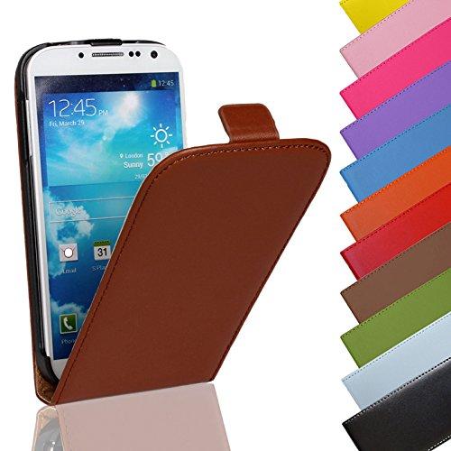 EximMobile - Flip Case Handytasche für Huawei Ascend Y300 in Braun | Kunstledertasche Huawei Ascend Y300 Handyhülle | Schutzhülle aus Kunstleder | Cover Tasche | Etui Hülle in Kunstleder