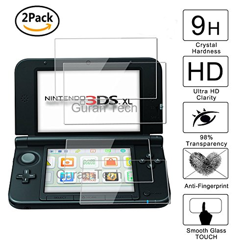 Guran® [2 Stück] Displayschutz Glasfolie für Nintendo New 3DS XL Hartglas Schutzfolie Film 3D Touch Kompatibel Panzerglasfolie