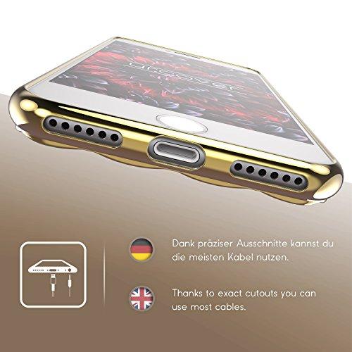 Housse iPhone 7 [Rebord Miroir] Urcover Coque Transparent Champagne Or Souple Silicone TPU Étui de Protection Apple iPhone 7 Case Téléphone Champagne Or
