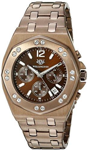 Wellington WN511-095 - Reloj analógico de cuarzo para hombre con correa de acero inoxidable, color marrón