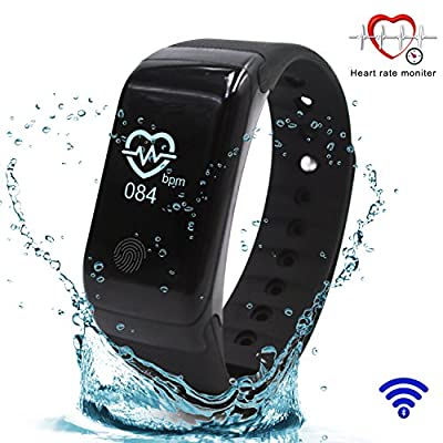 Fitness Tracker?Smart Fingerprint Design?Bluetooth with Heart Rate Pulse Monitor, Calorie Counter, Sleep Monitor, Drinking Water Reminder, Sport Pedometer Activity Tracker, IP67 Waterproof, Smart Wristband Bracelet. OLED Touch Screen Compatible with Andro