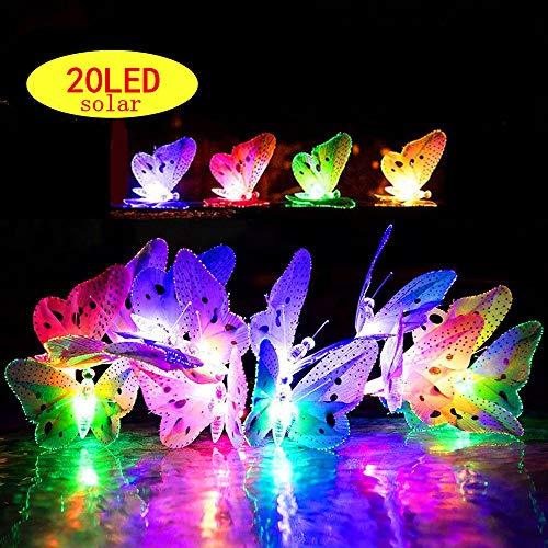 Solaire Papillon Lampe, ELINKUME 20LEDs RGB LED Lumière de Fée Papillon 5M/16.4ft Totale Longueur 2 Modes Décoration de Jardin Extérieur Guirlande Lumineuse