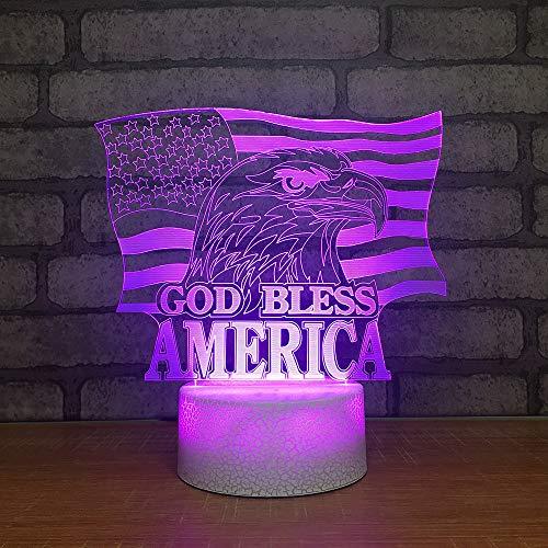 te Steigung American Flag Eagle Schreibtisch Tischlampe Kinder Schlafzimmer Dekor Beleuchtung 3D Led Tieratmosphäre Geschenke ()
