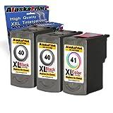 3X Druckerpatrone Ersatz für Canon PG-40 XL + CL-41 XL für Canon PIXMA MP140 MP450 MP190 MP210 MP220 MP470 MP460 IP2500 IP1800 IP1900 MX300 IP2600 IP1600 IP2200 IP1700 IP2580
