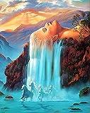 Dipingere con i numeri per adulti e bambini, con rose in cupola di vetro, la Bella e la Bestia, rosa incantata, 40,6 x 50,8 cm Wooden Framed Waterfall