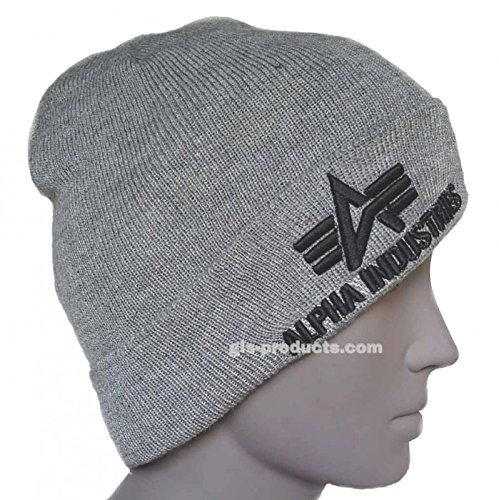 Alpha Industries 3D Beanie,Wintermütze aus doppeltem Acrylstoff sehr weich kuschelig warm super Design 3D Stickerei Heather Grey