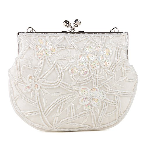Beaded Frame Bag Satin Argento (Avorio)