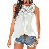 SEWORLD Mode Damen Spitze Weste Top Kurzarm Bluse Lässige Tank Tops T-Shirt (L, Weiß)