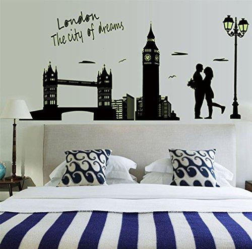 """Preisvergleich Produktbild Wandsticker Leuchtendes Fluoreszierendes Wandtattoo Wandbilder Aufkleber in """" London Dreams"""" Motiv, leuchtet in der Dunkelheit"""
