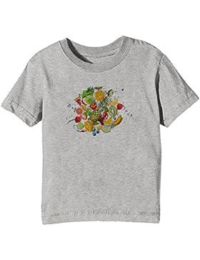 Frutas Niños Unisexo Niño Niña Camiseta Cuello Redondo Gris Manga Corta Todos Los Tamaños Kids Unisex Boys Girls...