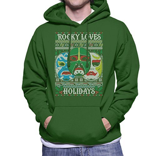 3 Ninjas Masks Holidays Christmas Knit Pattern Men's Hooded Sweatshirt (Tum Tum Colt Rocky)