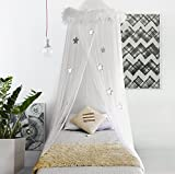 Boho & Beach Bed Canopy Mosquito Net Curtains with Feathers and Stars