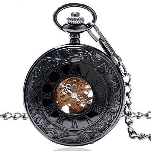 FSK&CDL Taschenuhr Hochwertige Black Metal mechanische Taschenuhr Retro Steampunk Clock Anhänger Uhren Kette Geschenk