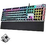 Guanwen Mechanische Gaming-Tastatur, Schwarzer Schalter RGB-Hintergrundbeleuchtetes Metall Ergonomische Handauflage Multimedia Wired USB-Tastatur für PC-Laptop-Computer