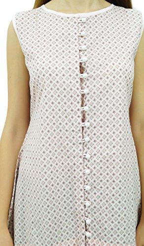 Phagun Femmes Manches Imprimé Casual Top Été Asymétrique Tunique en Coton Blanc