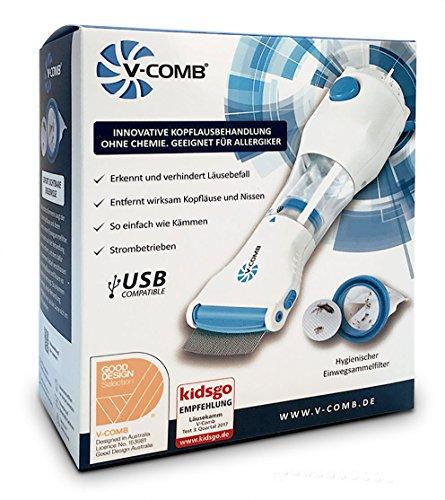 Vakuum Läusekamm V-Comb - USB kompatibel – wirksames Läusemittel zur Vorbeugung, Behandlung und Entfernung von Läuseeiern und Kopf-Läusen