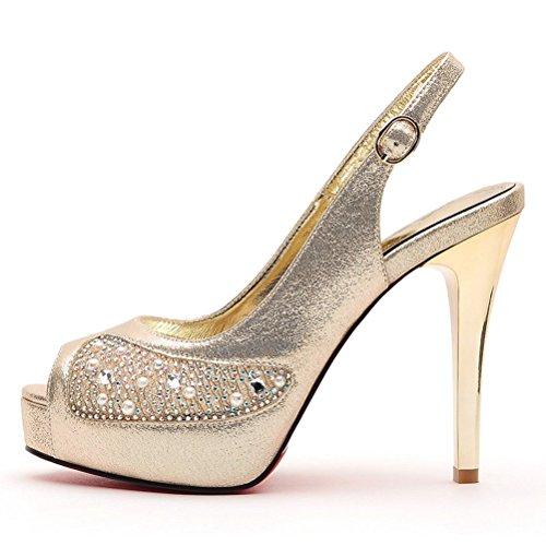 Klassische Stilettos High Heels Offene Zehen mit Pailette Riemenschnalle Rückband Plateau Aufzug Abendkleid Clubs Pumps Sandalen Gold