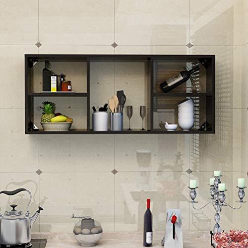 Wine Rack - ♦ JJ Wandregal für Weinregale Separates, stabiles Displayregal Keine Tür Leicht zu lagern -0422 (Farbe : Black Walnut, größe : 120 × 24 × 50cm) -