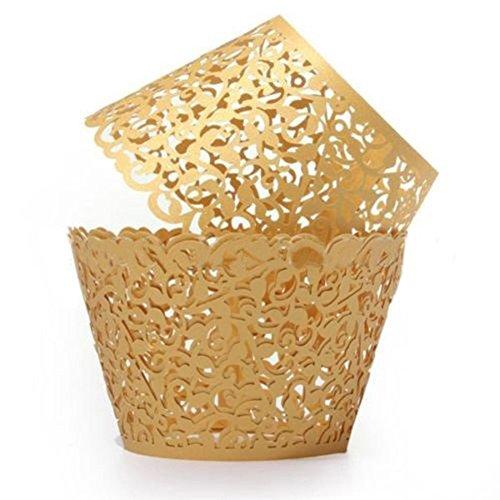 50Cupcake Wrappers, favolook Mini einzelnen filigranen Backen Kuchen Papier Halter Vine Lace Cups Schutzhülle Tabletts Hochzeit Geburtstag Party Taufe Dekoration gold (Cupcake-wrapper)