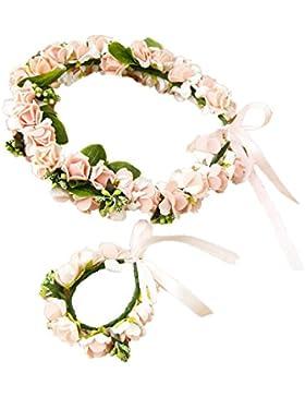 Cereoth Corona de flores Corona floral Corona de guirnaldas para la boda con la pulsera Corazon Rosa