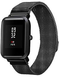 diadia Correa de reloj deportivo de acero inoxidable para Xiaomi Amazfit Bip Youth Watch, negro