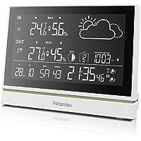 Generic Wetterstation mit Außensensor Funk, LCD Bildschirm Display Wettervorhersage Station mit Alarm/Innen & Außen Temperatur/Feuchtigkeit/Barometrischer/Alarm/Mondphase