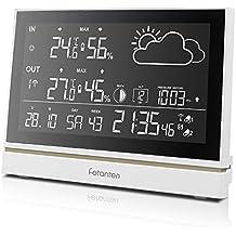 Fetanten Wireless Stazione Meteo con Previsioni di Precisione, Temperatura, Umidità, Allarme Temperatura, Pressione Barometrica, Fase lunare Tempo , Orologio Radiocontrollata con Tempo Automatico