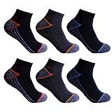 L&K 6 Paar Herren Thermo Sneaker Socken Bambus Sportsocken Dicke Gepolsterte-Sohle 3-Farben-Set 2110 43-46