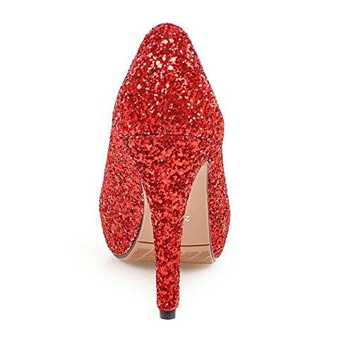 COOLCEPT Damen Mode-Event Slip On Glitter Schuhe Stiletto Peep Toe Pumps 1195 Rod