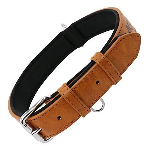 Grand Line Collar de Perro de Cuero Ajustable Acolchado Suave con Perforador de Agujeros 1 Color 4...
