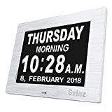 [Newest Version] Svinz Memory Loss Day Clock Digital Calendar with 3 Alarm Options