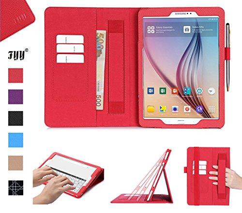 FYY Hülle für Samsung Galaxy Tab S2 9.7 - PU Leder Stand Folio Tasche mit Auto Schlaf/Wach Funktion Smart Cover Smart Cover-Rot