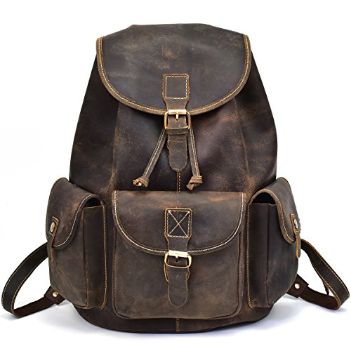 Luufan Herren Leder Rucksack Daypack Schule Satchel Reisen Schulter Laptop-Tasche (Brown 3)