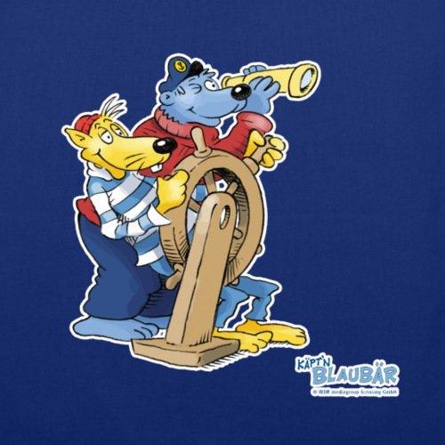 Spreadshirt Käpt'n Blaubär Hein Blöd Steuerrad Stoffbeutel Royalblau