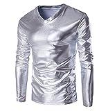 Tomatoa Herren Metallic Shiny Wet Look Langarm T-Shirt Top Slim Fit V-Ausschnitt Bluse Classics Top V-Ausschnitt Tee Fitness Langarmshirt Shirt Persönlichkeit Pullover (Silber, M)