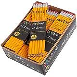 Colore Matite n. 2 con gomma - Matite gialle in legno HB di alta qualità/grafite - Ottima fornitura per la scuola, per scrivere, disegnare e fare schizzi - Adatte per bambini e adulti - 144 matite