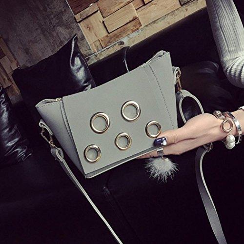 Jamicy Moda donna borsa a tracolla in pelle borsa frizione Grigio