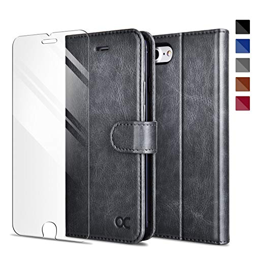 OCASE Kompatibel mit iPhone 7 Hülle Handyhülle iPhone 8 [ Gratis Panzerglas Schutzfolie ] [Premium Leder] [Standfunktion] [Kartenfach] Schlanke Leder Brieftasche für Apple iPhone 7/8 -