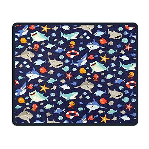 Preisvergleich Produktbild Mouse Pad Cute Cartoon Shark Fans Rectangle Rubber Mousepad Length 8.66 Width 7.09 inch Gaming Mouse Pad with Black Lock Edge