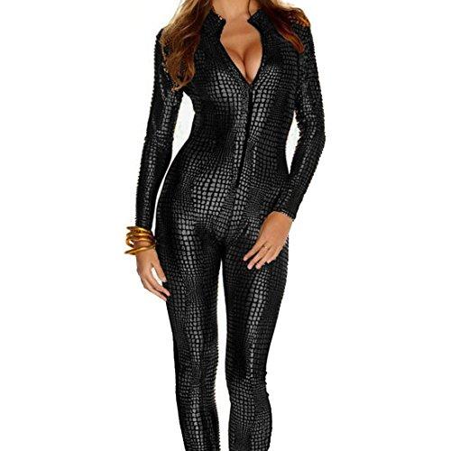 Frauen-glänzender Catsuit Snakeskin Muster Unitard Faux-lederner Overall Catwoman Cosplay Dame-Mädchen-Abendkleid-Spielanzug Sexy Partei Clubwear (Small, (Catwoman Mädchen Kostüme)