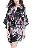 YAOMEI Donna Kimono Vestaglia Pigiama Sleepwear, di seta Raso di seta del pavone e fiori Robe Accappatoio damigella d'onore da notte Pigiama, stile corto (XX-Large, Nero)