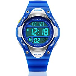 Reloj Digital impermeable electrónico relojes con LED alarma Cronómetro–Azul