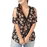 Bekleidung Damen AMUSTER Frauen Große Größe Shirt Bluse Blumendruck Trägerlos Spitze V-Ausschnitt Chiffon Tops Elegant Oberteile Lässige Bluse Pullover (4XL, Schwarz)