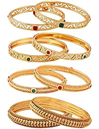 Jewels Galaxy Exclusive Collection Of Delicate Red-Green Ruby Handcrafted Gold Plated Bangles Set Combo For Women...