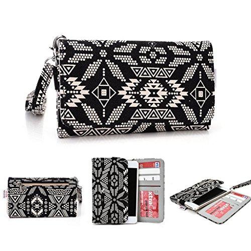 Kroo Téléphone portable Dragonne de transport étui avec porte-cartes pour Oppo Find 7/U3 Multicolore - noir Multicolore - noir